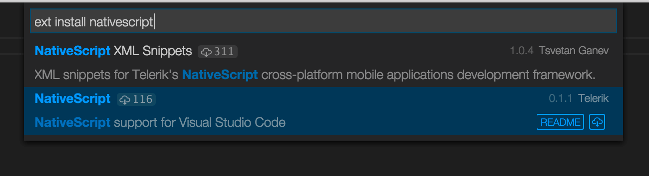 Installing the NativeScript extension for Visual Studio Code